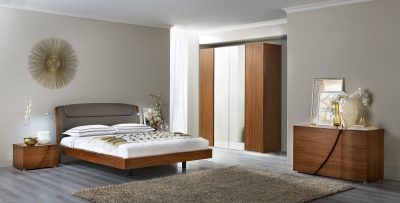 Brands Camel Modern Collection, Italy Luna Walnut Qs Bed & Mirror Only!