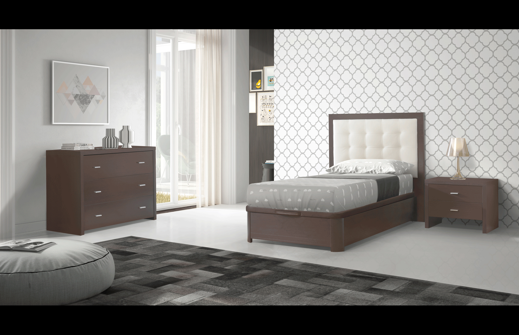 Bedroom Furniture Full Size Kids Bedrooms Regina Storage TS, FS Wenge Bedroom